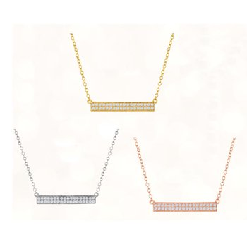 Sterling Silver Double Row CZ Horizontal Bar Chain Necklace