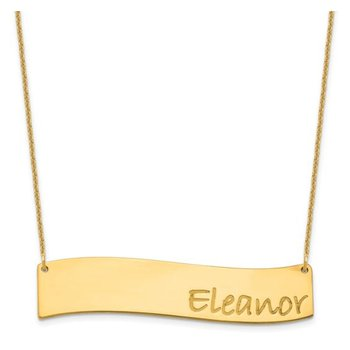 """14k Gold Personalized Nameplate Wavy Side Name Bar with 18""""x1mm Cable Chain Necklace"""