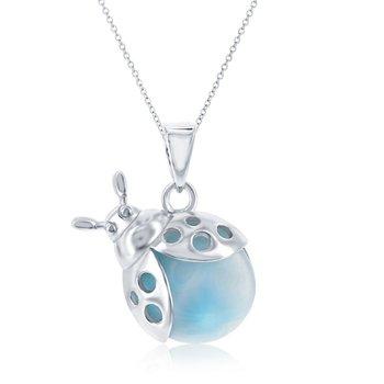 - Caribbean Treasures Sterling Silver Larimar Gemstone Lady Bug Pendant