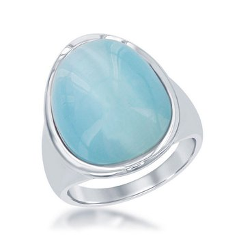- Simona Sterling Silver Aqua Oval Cat's Eye Ring - Size 9