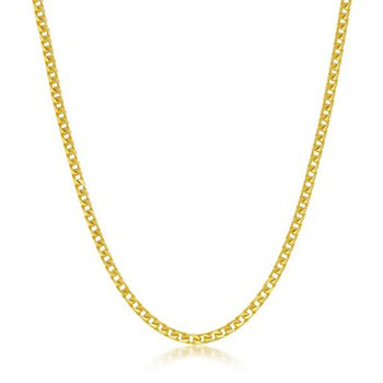 - Sterling Silver 14k Yellow Gold Plated 2.3mm Franco Chain Necklace for Men