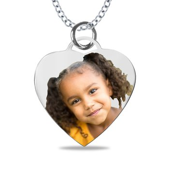 - Small Heart Laser Enameled Personalized 18x20mm Customized Engravable Photo Picture Pendant