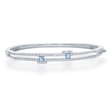 - Bellissima Sterling Silver 0.36ctw. Square Swiss Blue Gemstones and 0.86ctw. White Topaz Gemstones Bangle Bracelet
