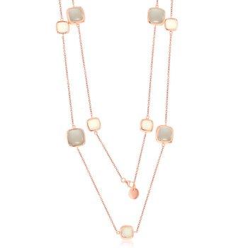 """- Simona Sterling Silver 14k Rose Gold Plated Alternating White and Light Gray Moonstone Square Neckalce - 36"""""""