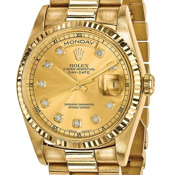: Pre-Owned Independently Certified Rolex 18k Yellow Gold Men's Day-Date President with Diamond Champagne Dial