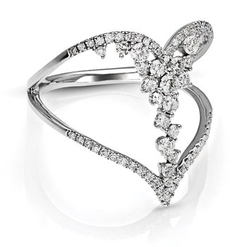 1/2ct. Diamond 14k White Gold Negative Space Floral Flower Heart Right Hand Ring
