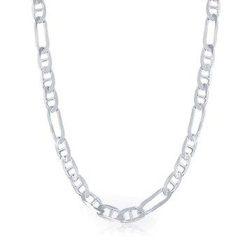 Sterling Silver 6mm Figaro Mariner Marina Chain Bracelet / Necklace for Men