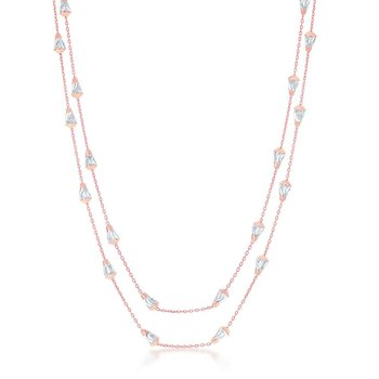 """- Sterling Silver 14k Rose Gold Plated Daimond-Cut Cone Shaped Beads Station Chain Necklace - 60"""""""