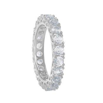 Bellissima Sterling Silver 3.30ctw. Round White Topaz Gemstone Eternity Band Ring