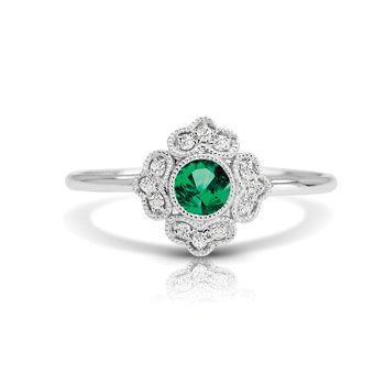 - 1/20ct. Diamond & 1/5ct. Emerald Round Gemstone 14k Gold Vintage-Inspired Right Hand Ring