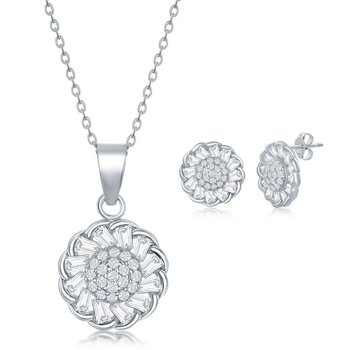 Sterling Silver Micro Pave Center & Baguette CZ Border Flower Pendant Chain Necklace and Stud Earrings Set