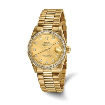 : Pre-Owned Independently Certified Rolex Midsize 18k Yellow Gold Datejust President with Diamond Dial and Diamond Bezel
