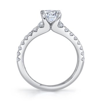 - Classic Solitaire Round Diamond Accented Semi-Mount Engagement Ring