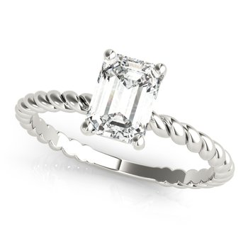 Solitaire Emerald-Shaped Diamond Twisted Rope Design Engagement Ring