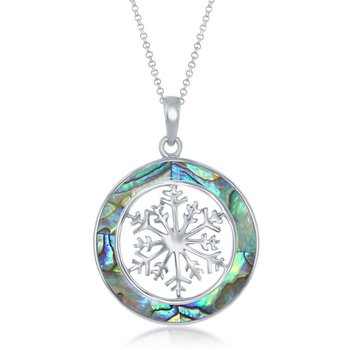 - Sterling Silver Abalone Snowflake Round Pendant with Chain