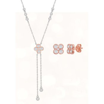 Sterling Silver Two-Tone 14k Rose Gold Plated CZ Floral Bezel-Set CZ Lariat Chain Necklace and Stud Earrings Set
