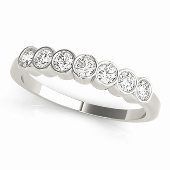 7-Stone Bezel-Set Diamond Anniversary Wedding Stackable Ring Band