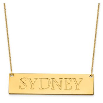 """14k Gold Personalized Polished 51mmx13mm Nameplate Recessed Letters with 18""""x1mm Cable Chain Necklace"""