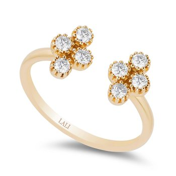 - 14k Yellow Gold Diamond Floral Flower Nature Inspired Cross Space Design Ring