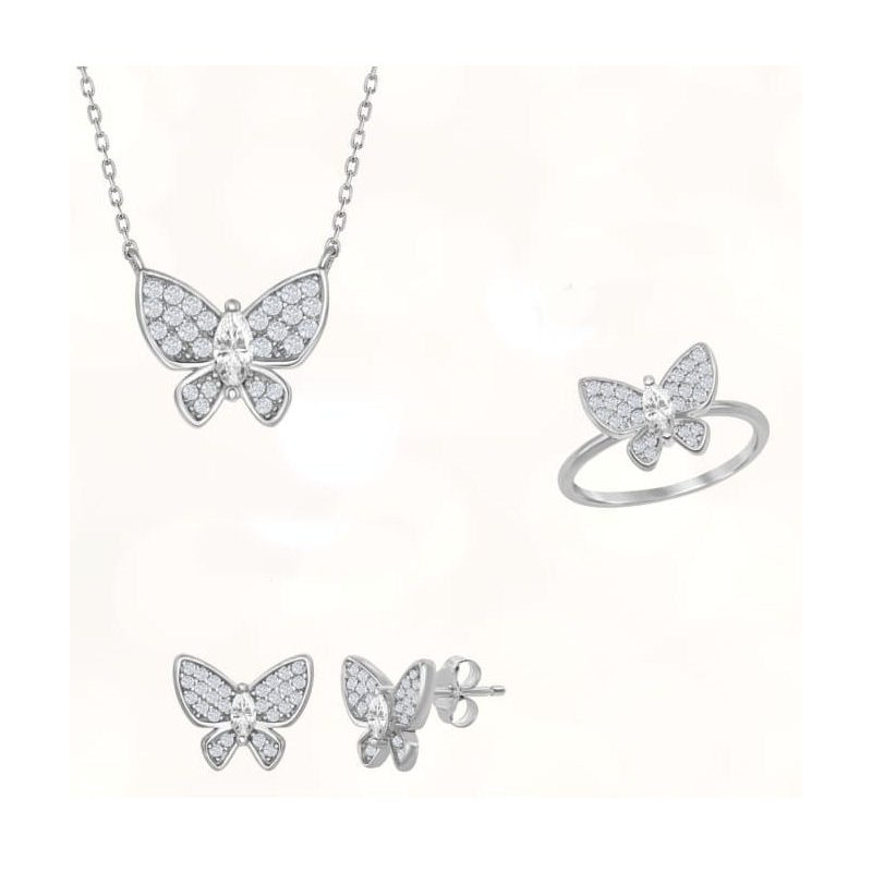 Fashion Jewelry Collection Sterling Silver CZ Butterfly Chain Necklace and Earrings and Ring Set
