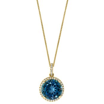 - 14k Yellow Gold 0.23Ctw. Diamond Halo and 6.84Ct. London Blue Topaz Gemstone Chain Pendant