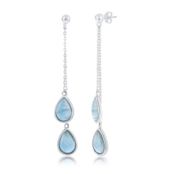 - Caribbean Treasures Sterling Silver Pear Shaped Larimar Gemstones Dangle Drop Earring Pair