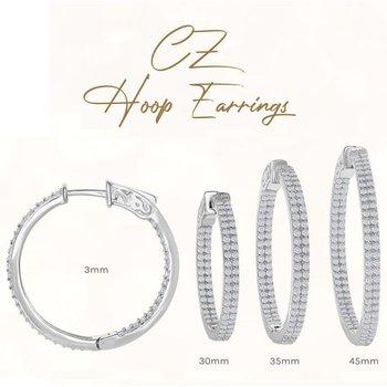 Sterling Silver 3mm Wide Inside-Out Double-Row CZ Hinged Hoop Earrings