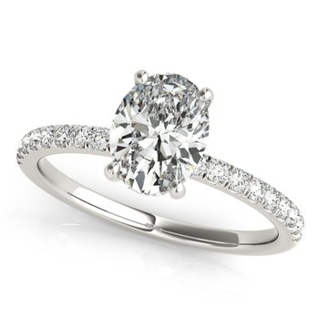 Oval Diamond Accented Engagement Ring