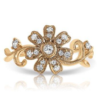- 1/15ct. Diamond 14k Gold Leaf Branch Flower Right Hand Ring