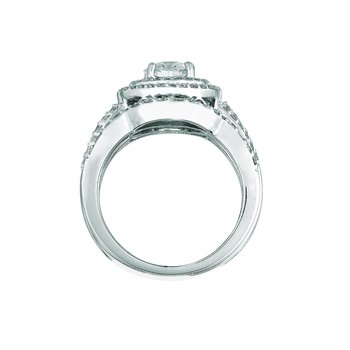 14K White Gold 1.74ctw. Diamond 3-Piece Cocktail Anniversary Wedding Ring Set