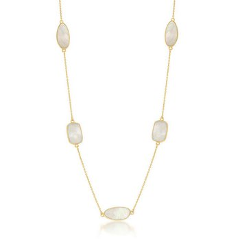 """- Simona Sterling Silver 14k Yellow Gold Plated with Rectangle & Irregular Mother-of-Pearl Neckalce - 36"""""""
