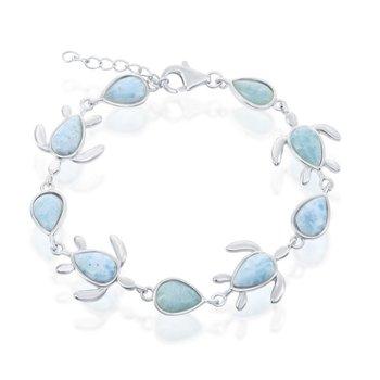 - Caribbean Treasures Sterling Silver Larimar Gemstones Turtle Bracelet