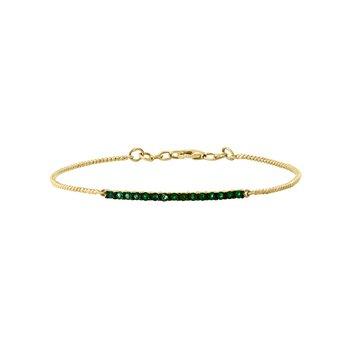 - 14k Yellow Gold Emerald Gemstones Bangle Bracelet
