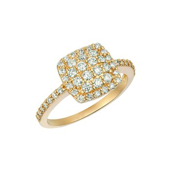 14K Gold 0.75ctw. Diamond Square Cluster Accented Cocktail Anniversary Ring