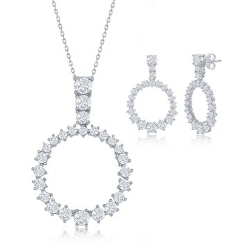 Sterling Silver CZ Open Circle Pendant and Earrings Set