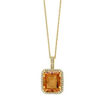 - 14k Yellow Gold 0.19Ctw. Diamond Halo and 5.30Ct. Citrine Gemstone Fancy Chain Pendant