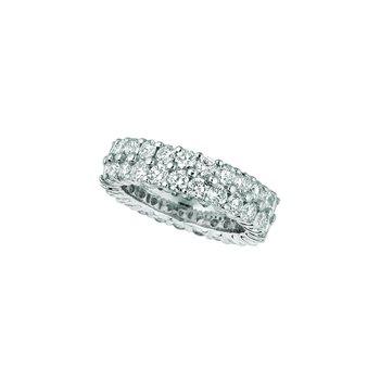 14k White Gold 4.30ctw. Diamond 2-Row Eternity Anniversary Wedding Band