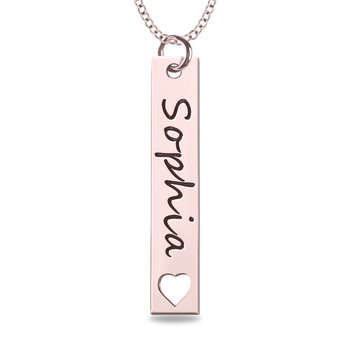 - 40x5mm Engravable Bar Name Plate Customized Pendant with Heart Cutout