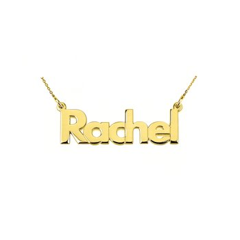 Block Letter Name Plate 20 x 6mm Customized Pendant Chain Necklace