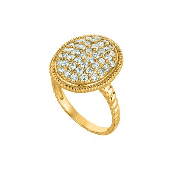 14K Gold 1.11ctw. Diamond Cluster Oval Twist Rope Cocktail Anniversary Ring