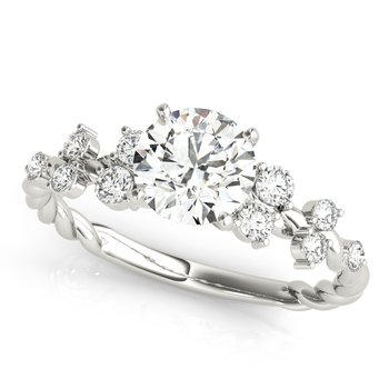 Round Diamond Accented Engagement Ring