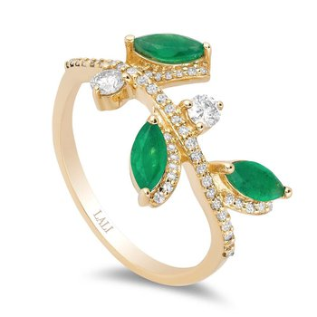 - 14k Yellow Gold Diamond and Emerald Gemstone Leaf Nature Inspired Design Ring