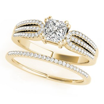 - Princess Accented Diamond Engagement Ring and Wedding Band Set