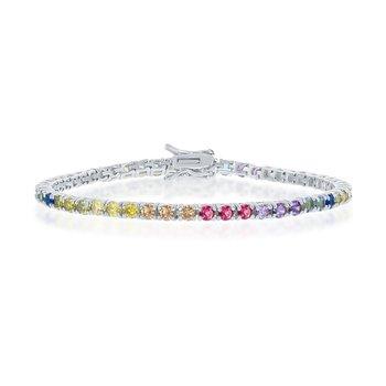 - Sterling Silver Multi-Color Rainbow Round CZ 3mm Tennis Bracelet