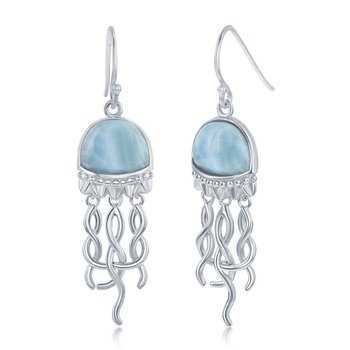 - Caribbean Treasures Sterling Silver Larimar Gemstones Jellyfish Fishhook Dangle Drop Earring Pair