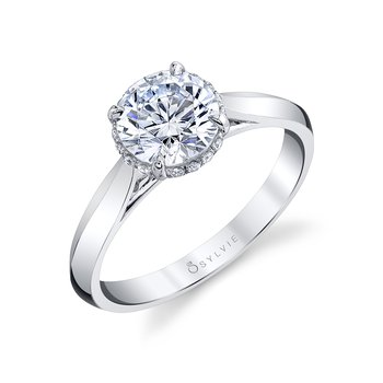 - Hidden Halo Solitaire Round-Shaped Diamond Accented Semi-Mount Engagement Ring