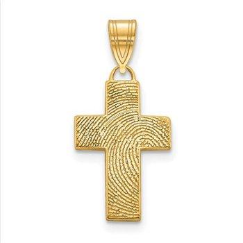 14k Gold Personalized Cross Fingerprint Pendant