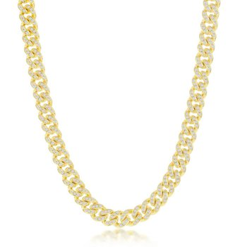 - Sterling Silver 14k Yellow Gold Plated 6.5mm Micro-Pave White CZ Miami Cuban Chain Bracelet / Necklace for Men