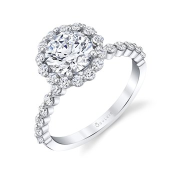 - Signature Halo Diamond Accented Semi-Mount Engagement Ring