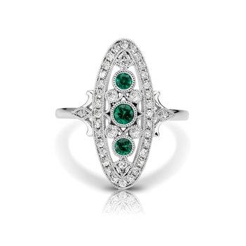 - 1/4ctw. Diamonds & 1/5ctw. Emerald Round Gemstones 14k Gold Vintage-Inspired Right Hand Ring